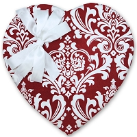 Heart Valentine Box </br> (Red Damask) </br> 55 Signature Collection Truffles (32oz)