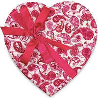 Heart Valentine Box </br> (Pink & White Paisley) </br> 55 Signature Collection Truffles (32oz)